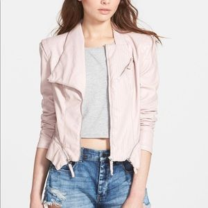 Blank NYC rose light pink leather jacket